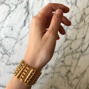 🔥 Vintage Gold Tone Chain Cuff Bracelet